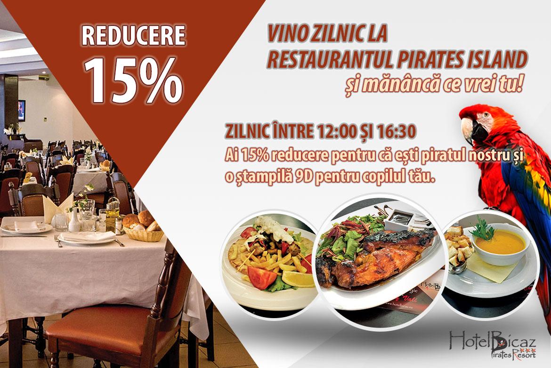 15% reducere la Restaurantul Pirates Island